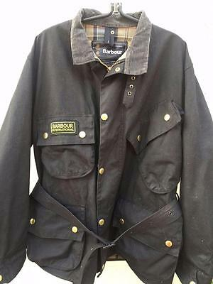 Barbour A7 International Suit Black Waxed Motorcycle Jacket Size C46 117Cm