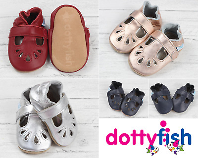 Dotty Fish Soft Leather Baby and Toddler T-Bar Shoes 0-6 Months - 18-24 Months