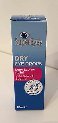 Super Eyes Dry Eye Drops 10ml For Red/Irritated/Dry Eyes + Free Postage