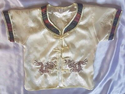 Children's Oriental Satin Embroidered Jacket Gold Asian Size Large L
