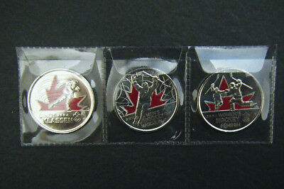 2009 Canada 2010 Vancouver Olympic 3 BU coloured Moments Quarter 25 cent Coin