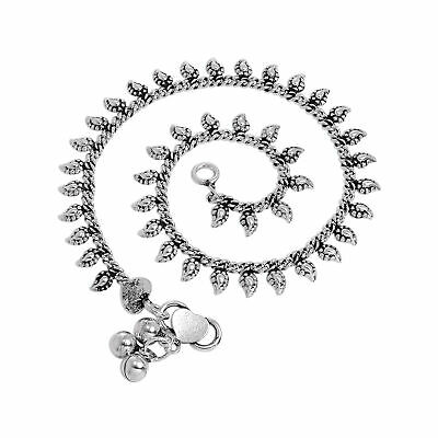 """Sterling Silver Anklet with Tiny Leaf Charms Adult 10 """" Inch Ankle Body"""