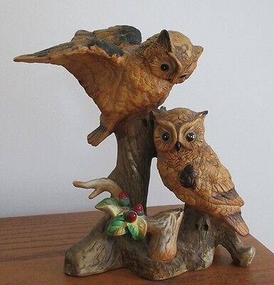 Vintage Barn Owl Couple Pair Figurine Statue Taiwan Porcelain Tree Log Branch