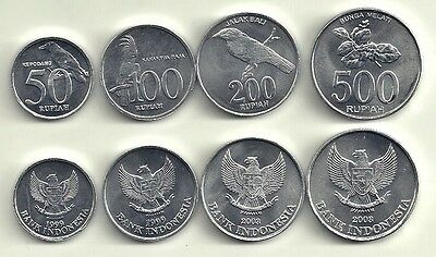 Indonesia 4 Coin Uncircualted Type Set Cockatoo Jasmine Oriole