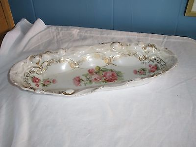 Wonderful Marked German Porcelain Hand Painted Rose and Gold Relish Dish Tray