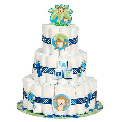 Boy Monkey Baby Shower Diaper Cake Kit 25pc NEW FREE SHIPPING