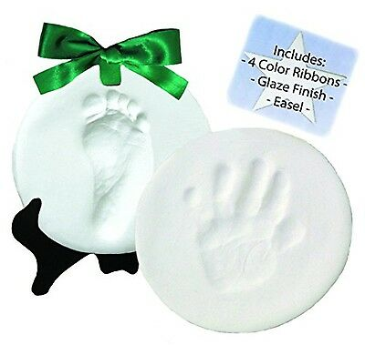 DELUXE Clay Hand Print & Footprint Keepsake Kit - Dries Stone Hard - No Bake ...