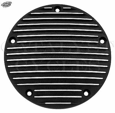 Finned Black Derby Cover for Harley Twin Cam Derby Cover Wrinkle Finish Cover