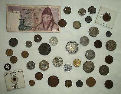 Lot of Mixed Foreign Currency; Francs, Pounds, Shillings, Centavos, Tiny Nixon++