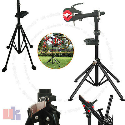 Bicycle Pro Home Adjustable Folding Repair Maintenance Work Red Stand Rack UKED