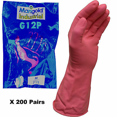200 x Pairs of Marigold Industrial G12P Latex Pink Rubber Gloves Size 7.5 M