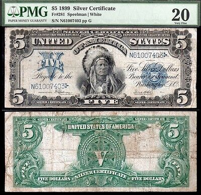 1899 $5 Chief Silver Certificate PMG VF20 Pleasing!
