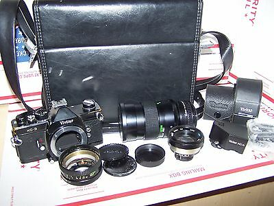 VINTAGE VIVITAR  35mm CAMERA MODEL  XC-3  WITH LENSES , CASE & ACCESSORIES