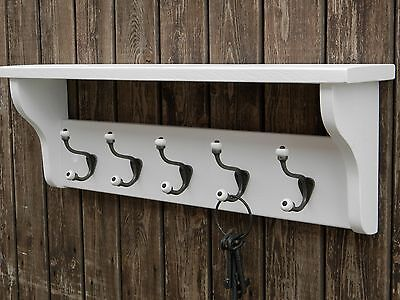Farmhouse Solid wood Hat and Coat Rack with shelf French white with ceramic hook