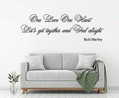 BOB Marley One Love One Heart Lyrics Wall Art Quote Vinyl Decal ...