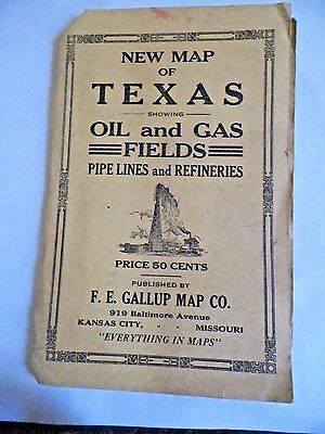 Vintage Early 1900S Gallup Map~Texas Oil & Gas Fields~Pipe Lines~Refineries~Nr
