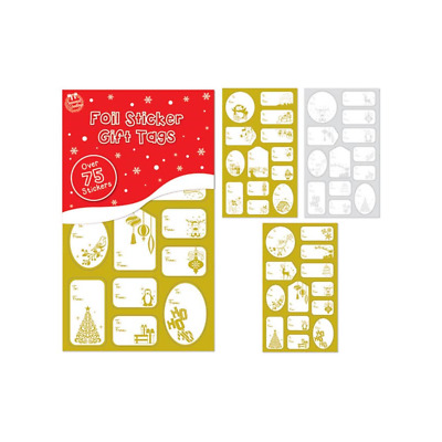 Tallon - 75 Foil Sticker Christmas Gift Tags Labels Gold and Silver