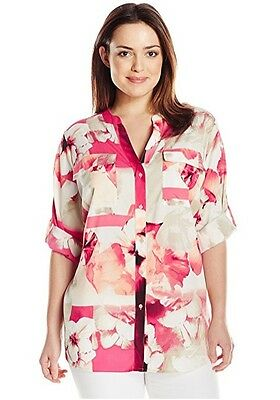 9d8fa3ae4a27e Calvin Klein New Women Plus Size Printed Roll Sleeve Blouse W6BA9547 Size  2X 3X