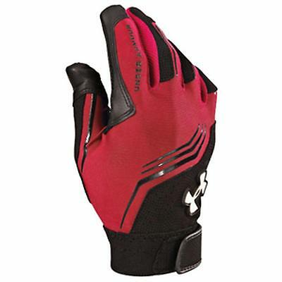 Under Armour Boys Cleanup Batting Glove Red Black Youth Small