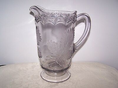 Beautiful Pressed Glass Maple Leaf Large 9 Inch Water Pitcher - Three Mold
