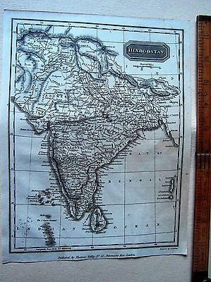 """ANTIQUE MAP HINDUSTAN (INDIA)- 10"""" by 8"""" - UNIVERSAL GEOGRAPHY - C.  KELLY 1814"""