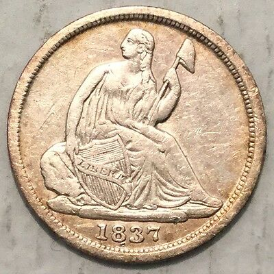 1837 H10C Seated Liberty Half Dime No Stars XF Small date