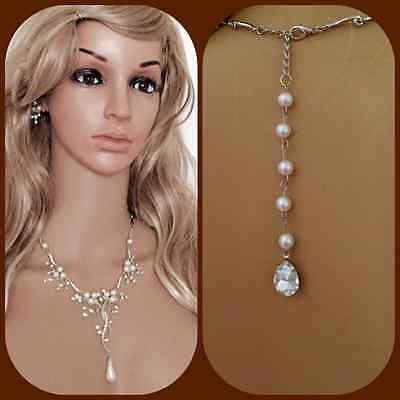 Pearl Bridal Jewelry Set pearl drop back Necklace Earrings sets