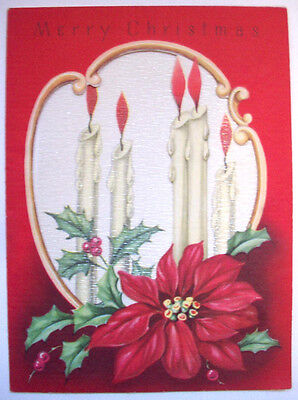 Candles and poinsettia Christmas vintage greeting card *J