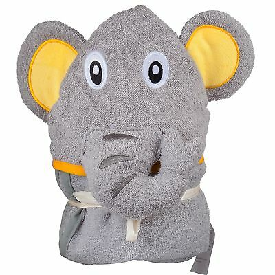 Elephant Hooded Cotton Baby Towel, 30x37-Inch, And 1 small matching towel