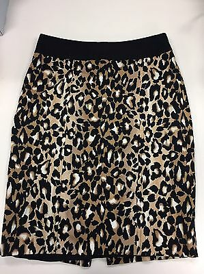 White House Black Market Leopard Animal Print Stretch Skirt Lined Size 6