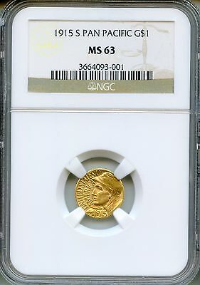 1915-S Panama Pacific G$1 NGC MS63 ~ Commemorative Gold Dollar (3664093-001)