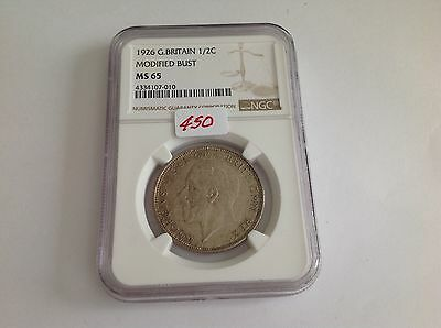1926 Great Britain Half Crown Modified Bust NGC MS 65