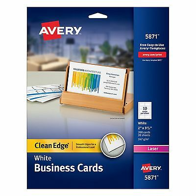 Avery Printable Two-Side Clean-Edge Business Cards for Laser Printers, White,