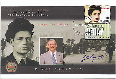 Gambia 2004 D Day Veterans Paddy Byrne Pilot 197 Typhoon Squadron Signed FDC