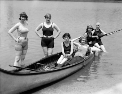 """1922 Bathing Beauties in a Canoe Vintage Photograph 8.5"""" x 11"""" Reprint"""