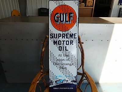 GULF~~Supreme Motor Oil~~Gulf Refining Co.~~EMBOSSED~~METAL SIGN