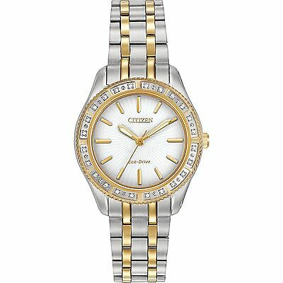 Citizen Eco-Drive Womens EM0244-55A Carina 24 Diamonds White Dial Two-Tone Watch