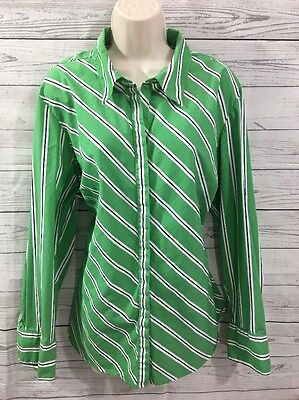 dbb667d7d66 Lane Bryant Women s Blouse Shirt Top Career Casual Stripe Green White Plus  18 20