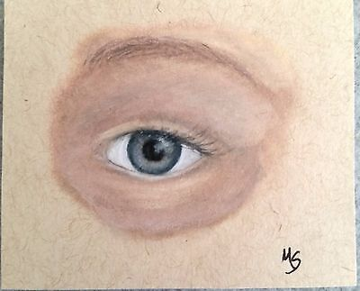 ACEO MS Original Drawing Eye Study Colored Pencil Art Card