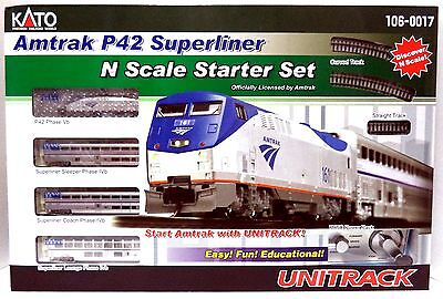 N Scale Kato 106-0017 Amtrak P42 w/ 3 Superliner Phase IVb Starter set