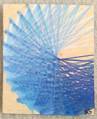 Aceo MS Original Drawing Abstract Blue Lines Ombre Art Mini