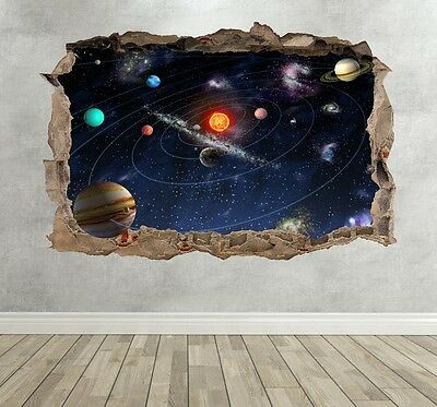3D Solar System Planets Kids Boys Girls Learning Wall Sticker Decal Wall Decor