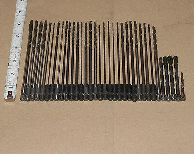 "Lot of (34)  Various Quick Change Extension Drill Bits  ""Made in USA"""