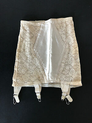 PIN-UP Ivory SATIN PANELED Vintage OPEN BOTTOM Lace GIRDLE w Garters XS Mint!
