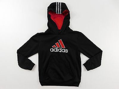 Adidas Boys Hoodie Size M Medium Red Pullover Athletic Front Pockets Active Gym