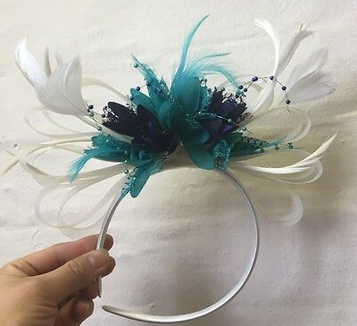 Cream, Turquoise Teal Navy Fascinator on Headband UK Wedding Ascot Races Loop