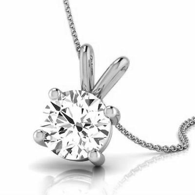 1 Ct Round Necklace Si1 14K White Gold Real Pendant Wedding Womens Solitaire