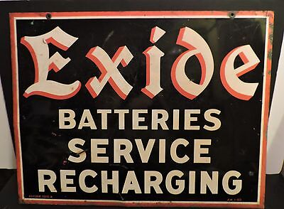 Early 1950 Double Sided Exide Batteries Service Advertising Sign Gas & Oil