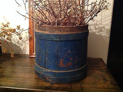 Large 19th Century Early Wooden Firkin with Amazing Original Blue Paint Aafa
