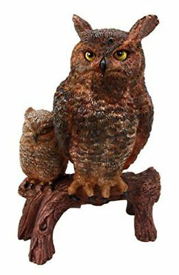Transient Wisdom Of The Forest Great Horned Owl & Owlet Decor Figurine